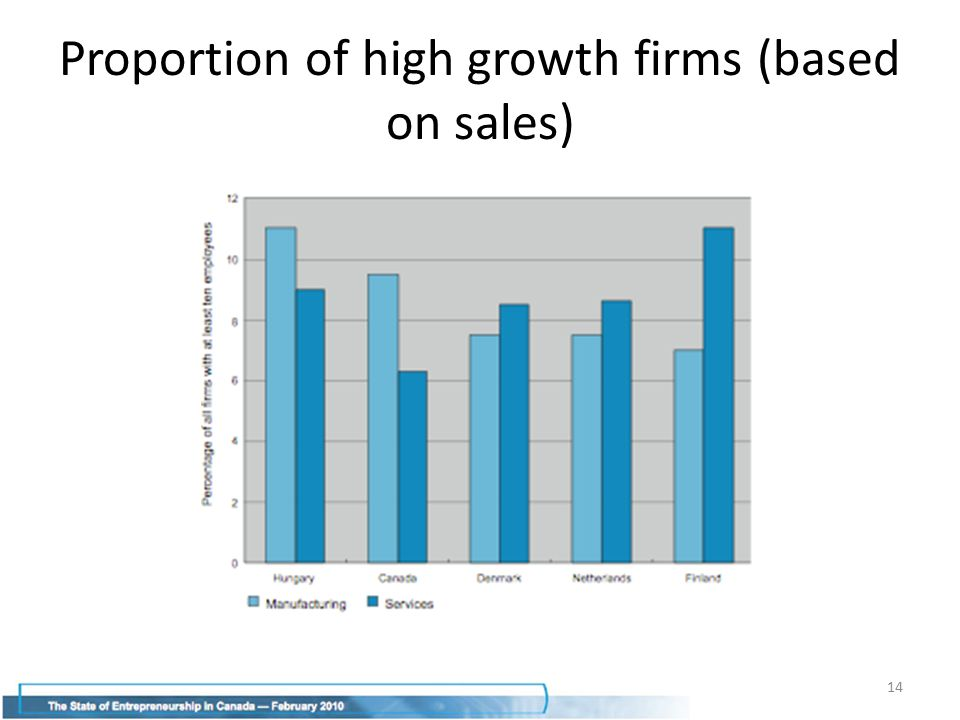 Proportion of high growth firms (based on sales) 14