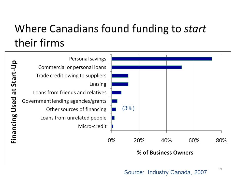 19 Where Canadians found funding to start their firms Source: Industry Canada, 2007 (3%)