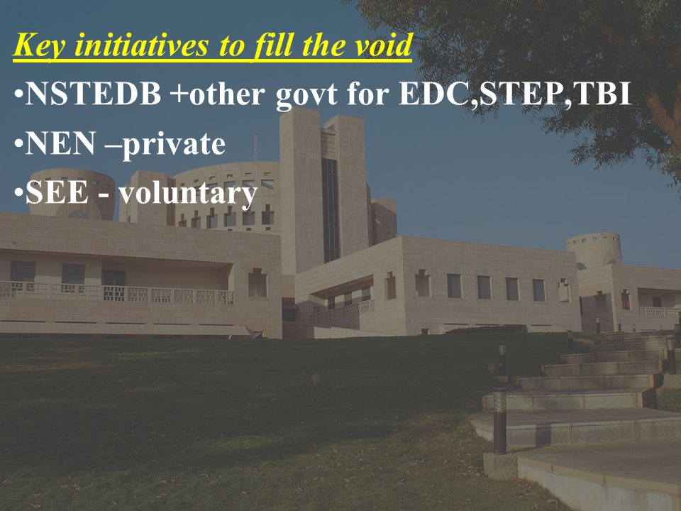 Key initiatives to fill the void NSTEDB +other govt for EDC,STEP,TBI NEN –private SEE - voluntary