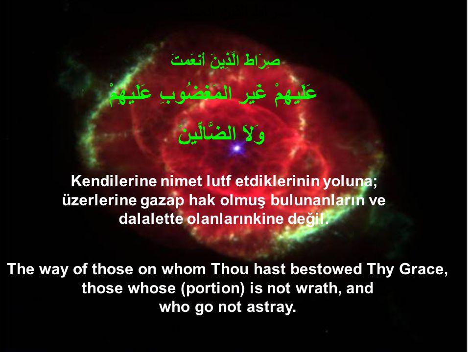 Kendilerine nimet lutf etdiklerinin yoluna; üzerlerine gazap hak olmuş bulunanların ve dalalette olanlarınkine değil.