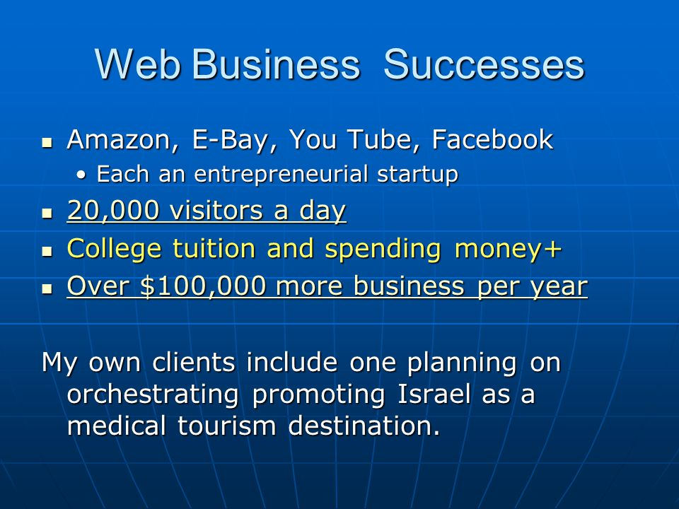 Web Business Successes Amazon, E-Bay, You Tube, Facebook Amazon, E-Bay, You Tube, Facebook Each an entrepreneurial startupEach an entrepreneurial star