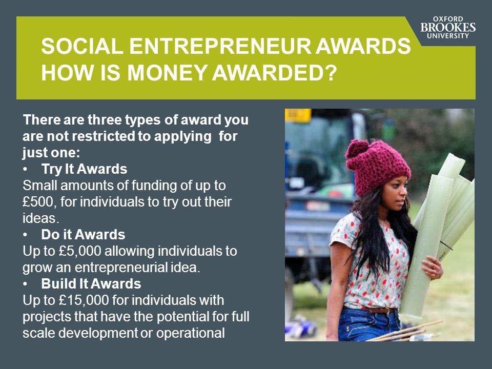 SOCIAL ENTREPRENEUR AWARDS HOW IS MONEY AWARDED.