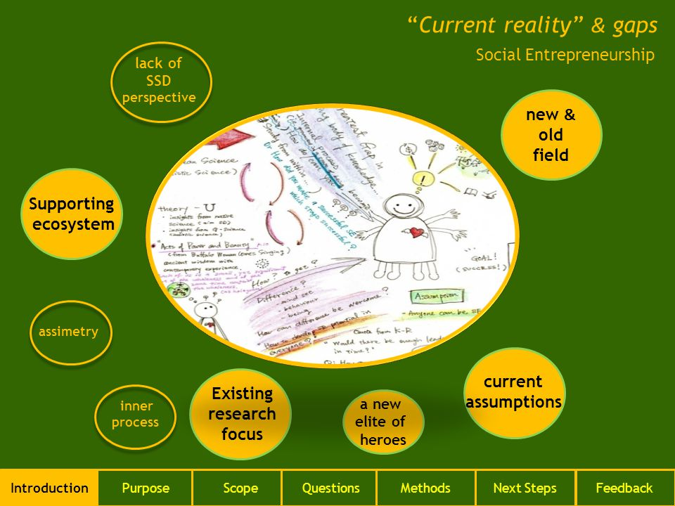 Current reality & gaps IntroductionPurposeScopeQuestionsMethodsNext StepsFeedback Social Entrepreneurship new & old field Supporting ecosystem Existing research focus current assumptions inner process a new elite of heroes assimetry lack of SSD perspective