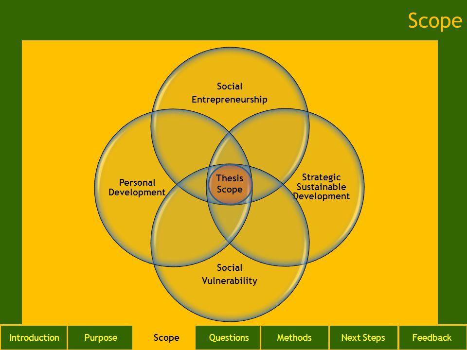 Social Entrepreneurship Strategic Sustainable Development Social Vulnerability Personal Development Thesis Scope IntroductionPurposeScopeQuestionsMeth