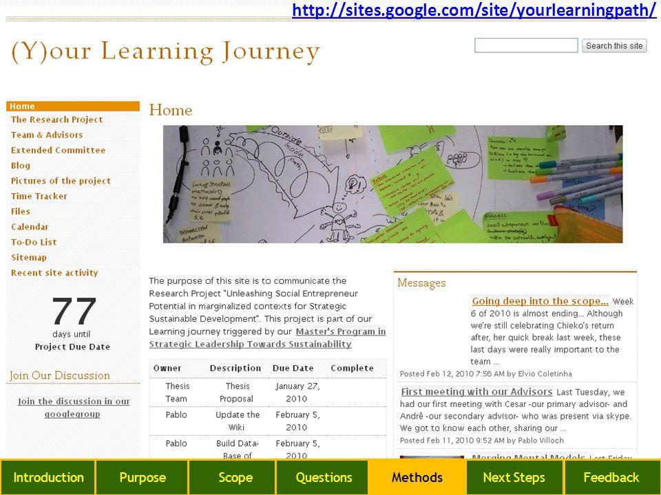http://sites.google.com/site/yourlearningpath/ IntroductionPurposeScopeQuestionsMethodsNext StepsFeedback