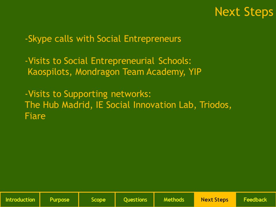 IntroductionPurposeScopeQuestionsMethodsNext StepsFeedback Next Steps -Skype calls with Social Entrepreneurs -Visits to Social Entrepreneurial Schools: Kaospilots, Mondragon Team Academy, YIP -Visits to Supporting networks: The Hub Madrid, IE Social Innovation Lab, Triodos, Fiare