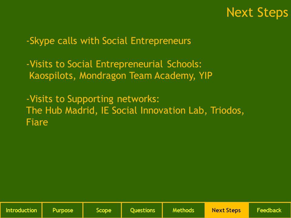 IntroductionPurposeScopeQuestionsMethodsNext StepsFeedback Next Steps -Skype calls with Social Entrepreneurs -Visits to Social Entrepreneurial Schools