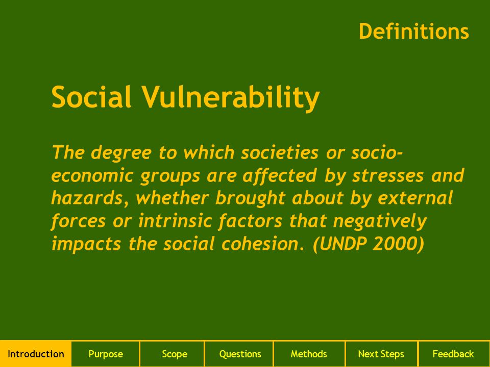 Definitions IntroductionPurposeScopeQuestionsMethodsNext StepsFeedback Social Vulnerability The degree to which societies or socio- economic groups ar