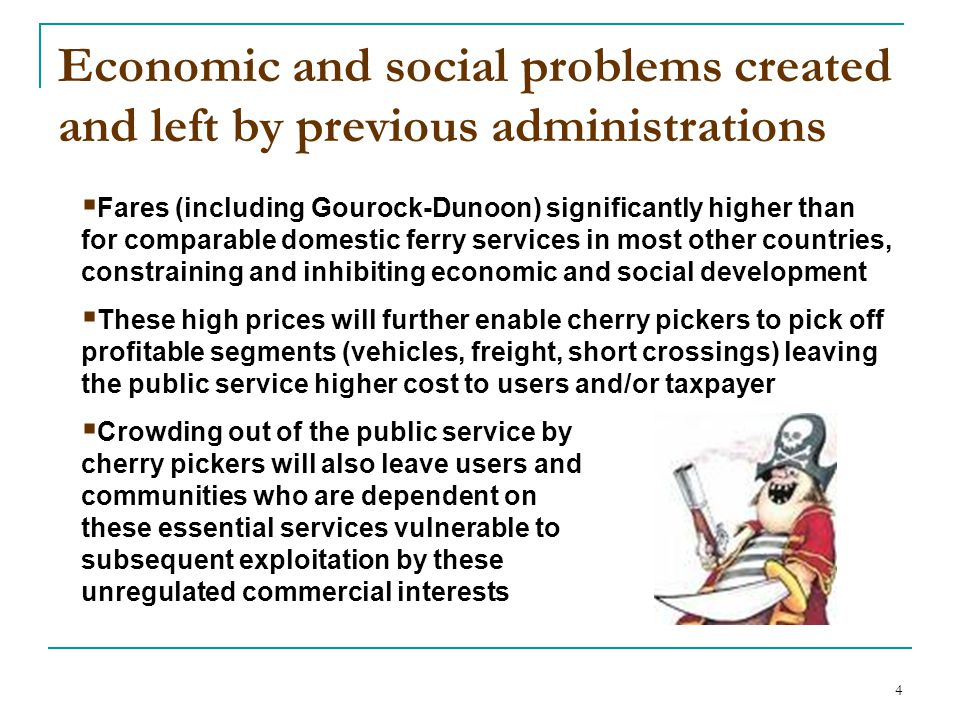 4 Economic and social problems created and left by previous administrations  Fares (including Gourock-Dunoon) significantly higher than for comparabl