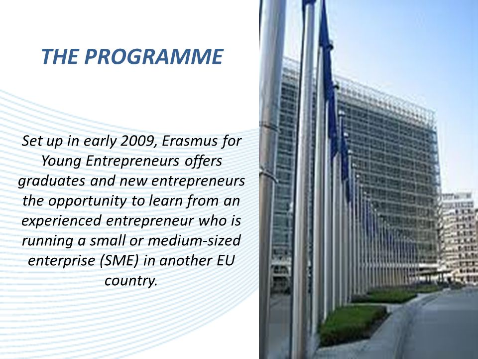 THE PROGRAMME Set up in early 2009, Erasmus for Young Entrepreneurs offers graduates and new entrepreneurs the opportunity to learn from an experienced entrepreneur who is running a small or medium-sized enterprise (SME) in another EU country.