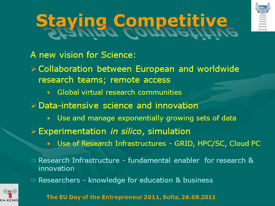 A new vision for Science:  Collaboration between European and worldwide research teams; remote access Global virtual research communities  Data-intensive science and innovation Use and manage exponentially growing sets of data  Experimentation in silico, simulation Use of Research Infrastructures - GRID, HPC/SC, Cloud PC  Research Infrastructure - fundamental enabler for research & innovation  Researchers - knowledge for education & business The EU Day of the Entrepreneur 2011, Sofia, 26.09.2011