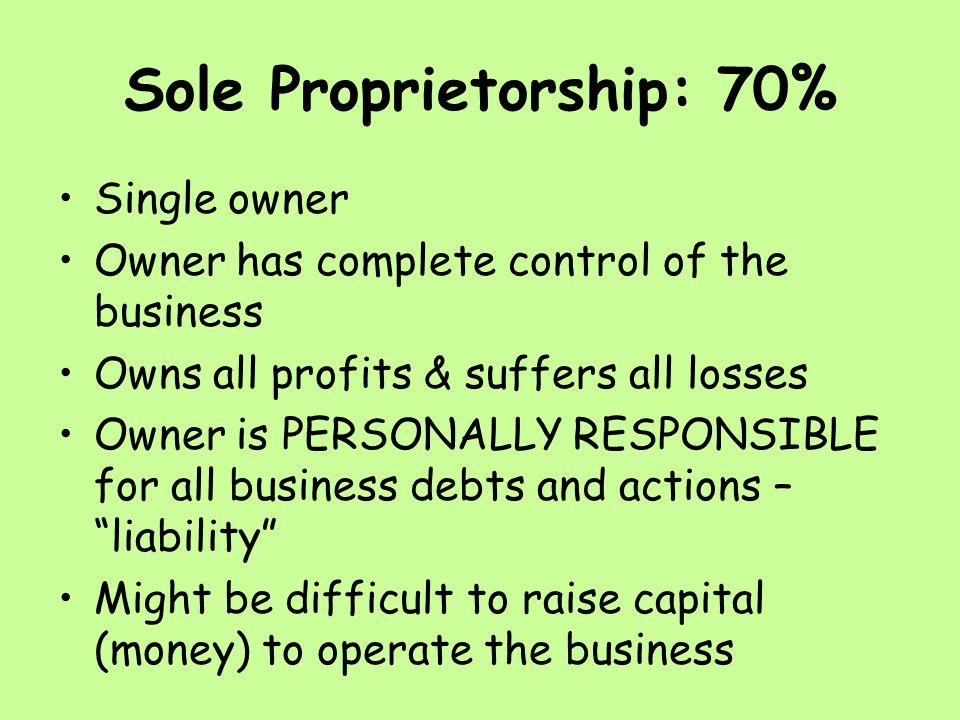 Sole Proprietorship: 70% Single owner Owner has complete control of the business Owns all profits & suffers all losses Owner is PERSONALLY RESPONSIBLE