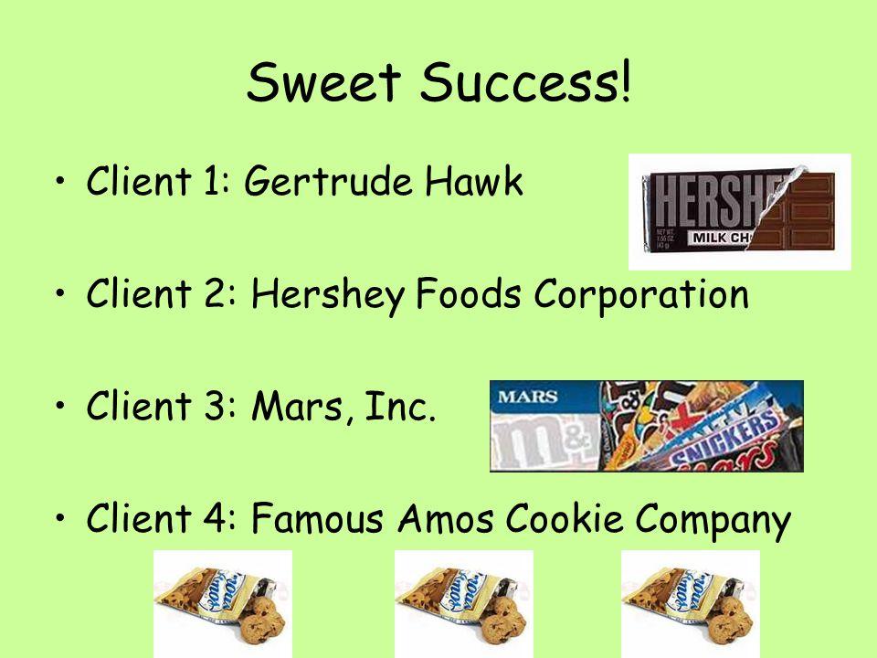 Sweet Success. Client 1: Gertrude Hawk Client 2: Hershey Foods Corporation Client 3: Mars, Inc.