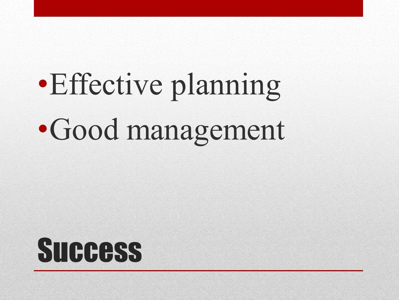 Success Effective planning Good management