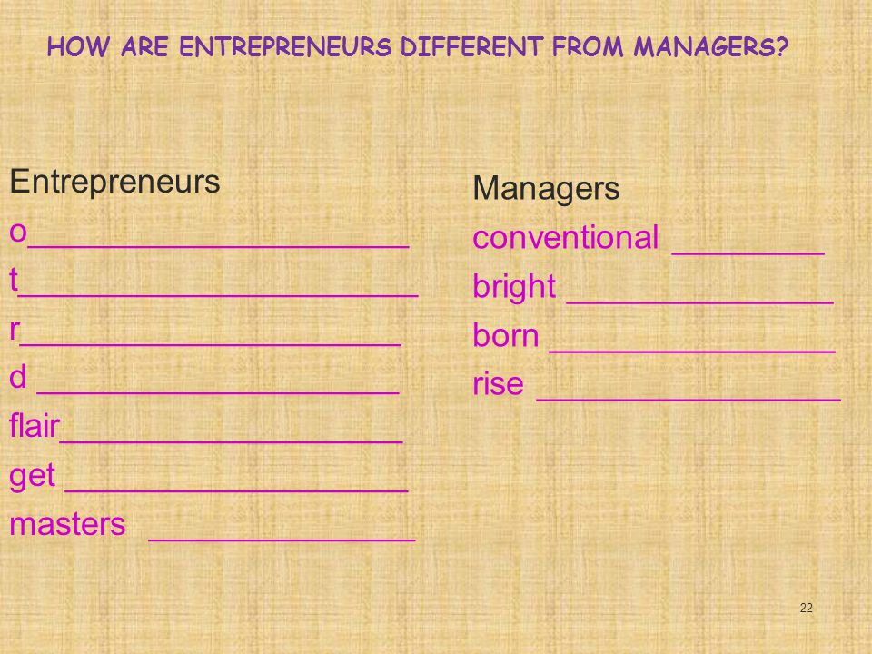 HOW ARE ENTREPRENEURS DIFFERENT FROM MANAGERS.