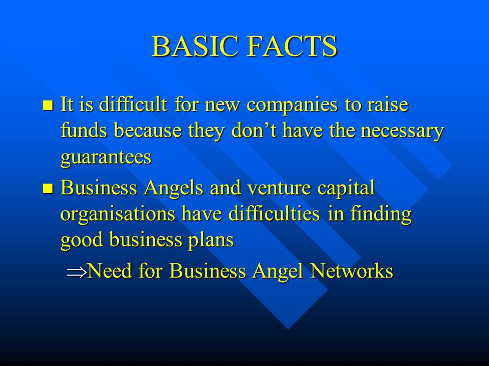 BASIC FACTS It is difficult for new companies to raise funds because they don't have the necessary guarantees It is difficult for new companies to raise funds because they don't have the necessary guarantees Business Angels and venture capital organisations have difficulties in finding good business plans Business Angels and venture capital organisations have difficulties in finding good business plans  Need for Business Angel Networks