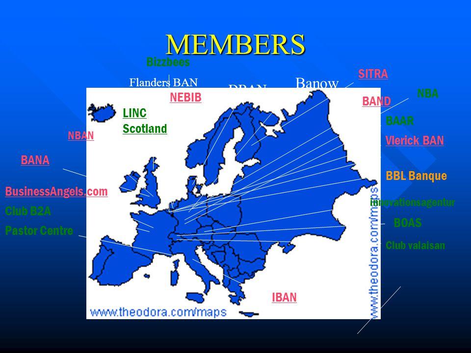MEMBERS SITRA LINC Scotland NBAN BANA BusinessAngels.com BAND IBAN NEBIB Vlerick BAN innovationsagentur Pastor Centre BOAS BAAR Club valaisan Club B2A