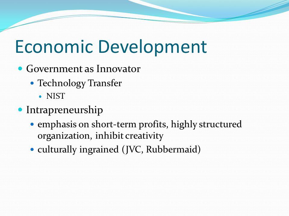 Economic Development Government as Innovator Technology Transfer NIST Intrapreneurship emphasis on short-term profits, highly structured organization,