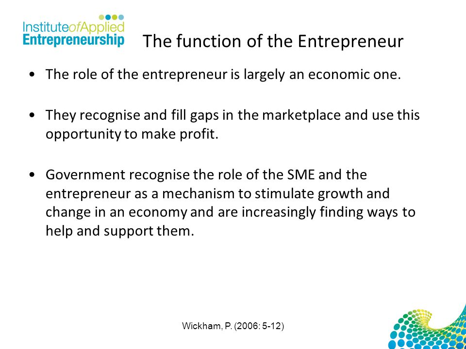 The function of the Entrepreneur The role of the entrepreneur is largely an economic one. They recognise and fill gaps in the marketplace and use this