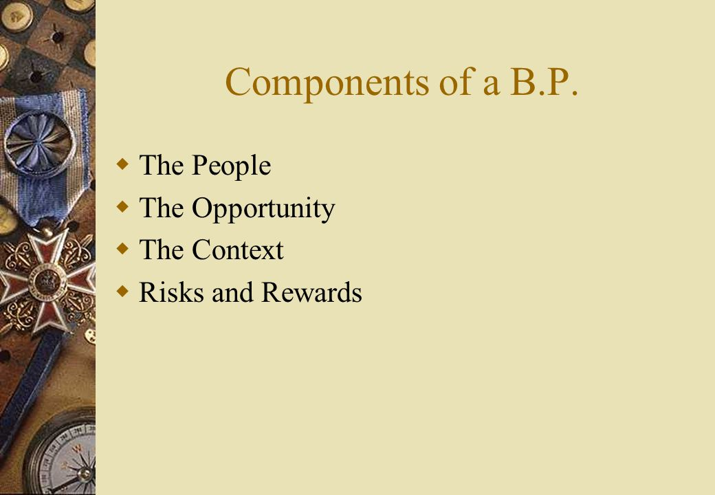 Components of a B.P.  The People  The Opportunity  The Context  Risks and Rewards