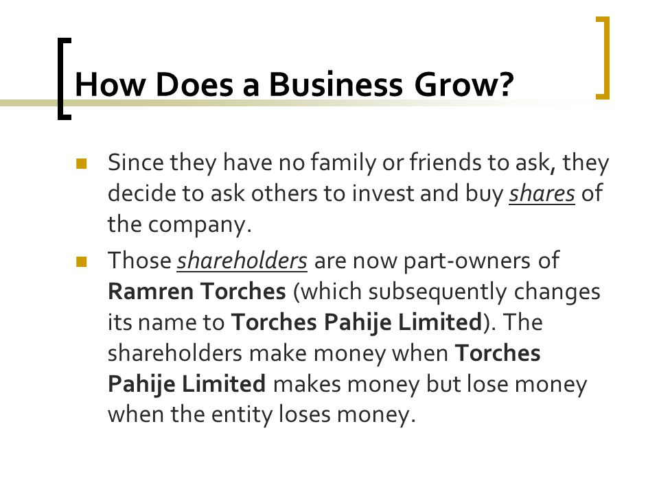 How Does a Business Grow? Since they have no family or friends to ask, they decide to ask others to invest and buy shares of the company. Those shareh