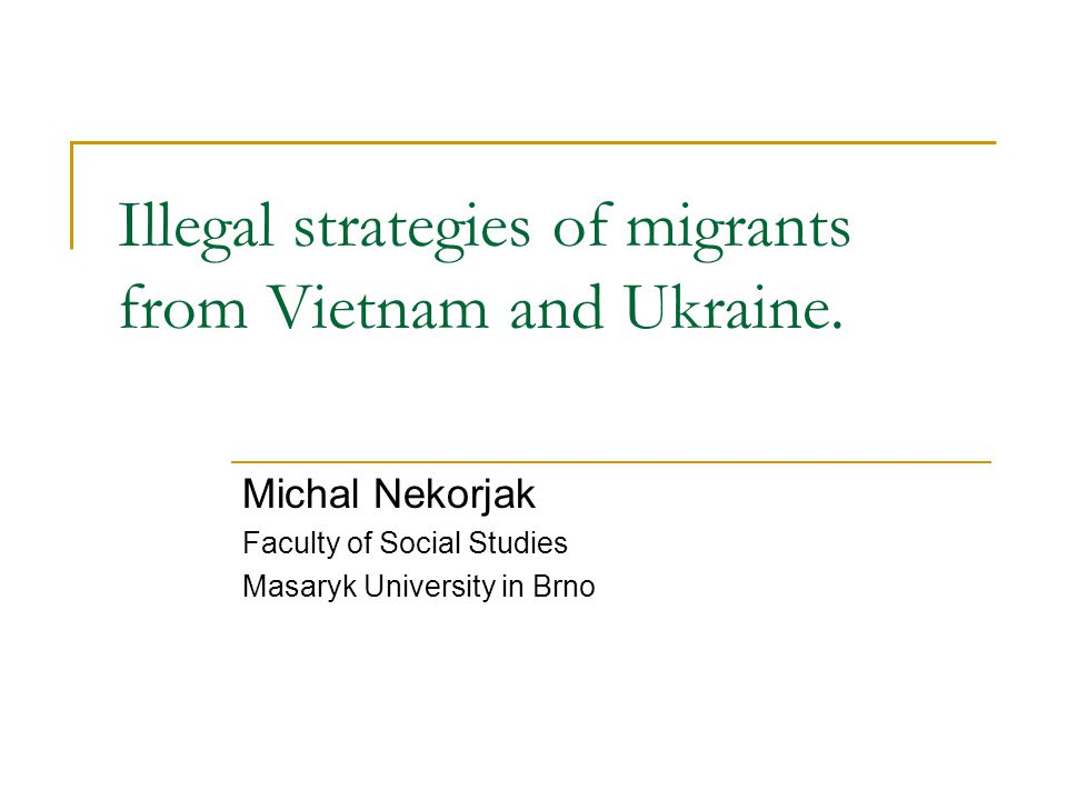 Illegal strategies of migrants from Vietnam and Ukraine.