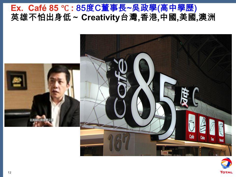 12 Ex. Café 85 ℃ : 85 度 C 董事長 ~ 吳政學 ( 高中學歷 ) 英雄不怕出身低~ Creativity 台灣, 香港, 中國, 美國, 澳洲