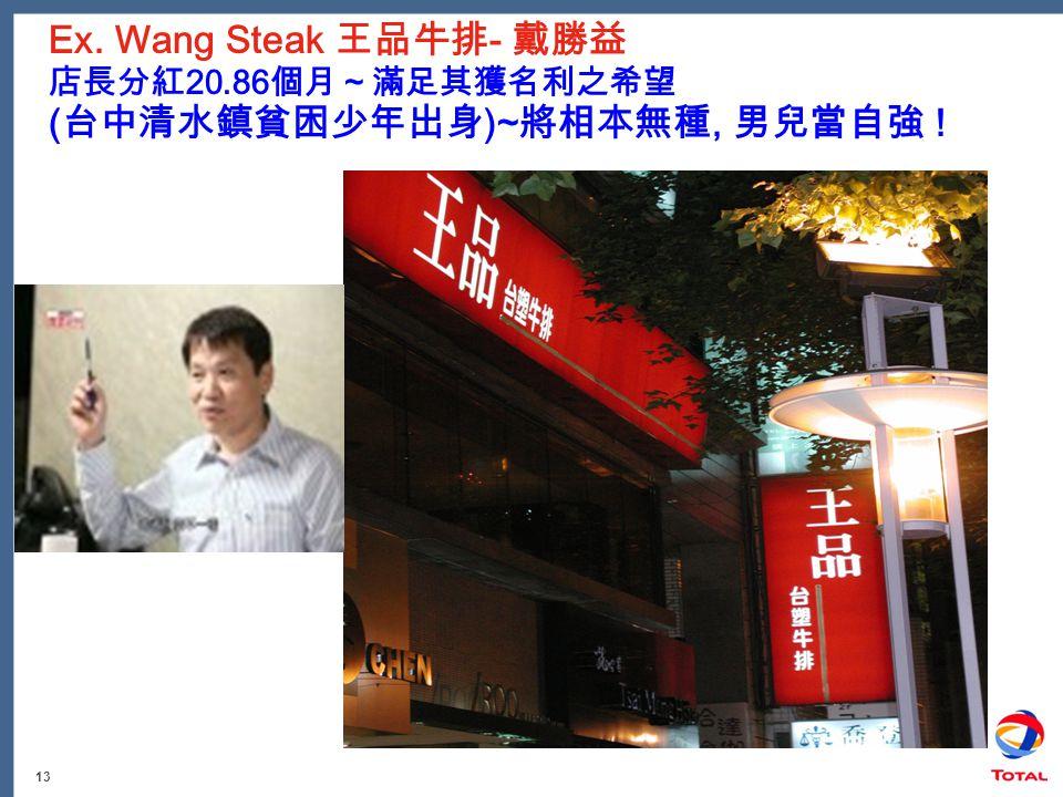 13 Ex. Wang Steak 王品牛排 - 戴勝益 店長分紅 20.86 個月~滿足其獲名利之希望 ( 台中清水鎮貧困少年出身 )~ 將相本無種, 男兒當自強 !