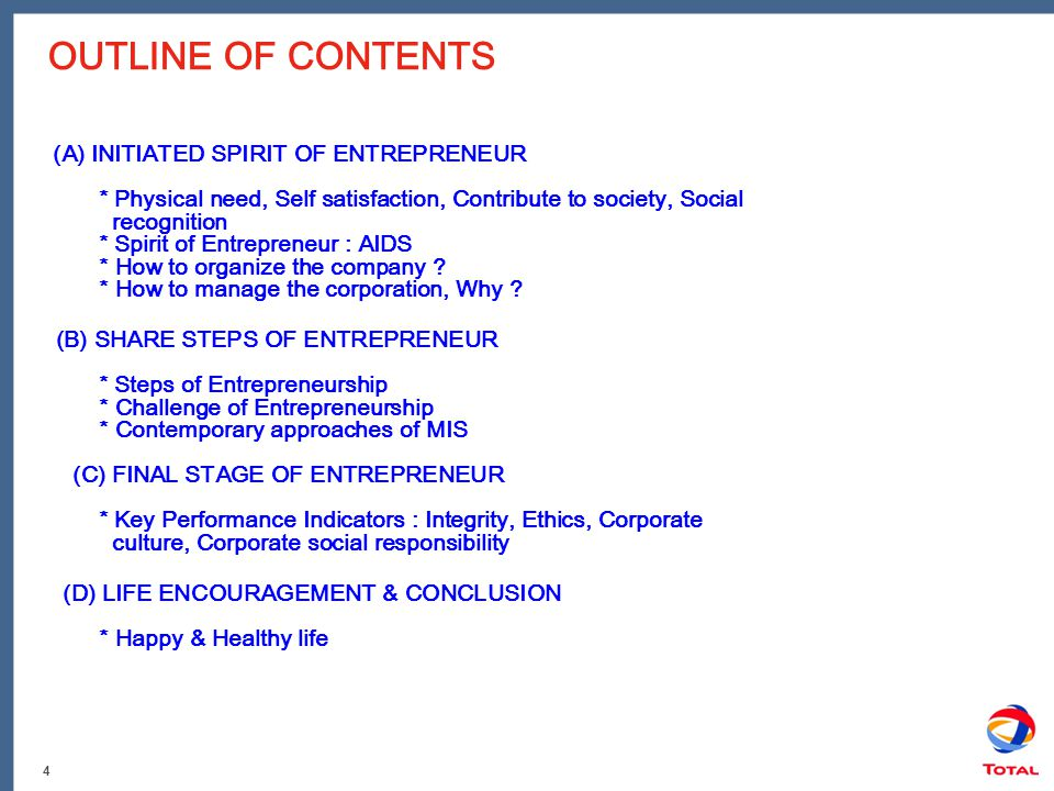 4 OUTLINE OF CONTENTS (A) INITIATED SPIRIT OF ENTREPRENEUR * Physical need, Self satisfaction, Contribute to society, Social recognition * Spirit of E