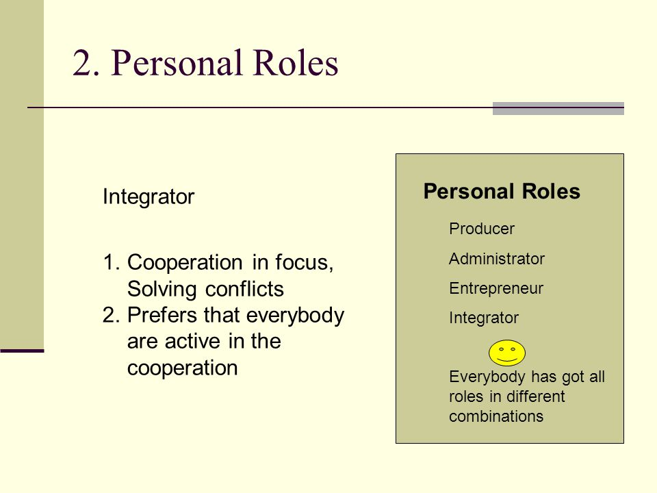 2. Personal Roles Producer Administrator Entrepreneur Integrator Everybody has got all roles in different combinations Personal Roles Integrator 1.Coo