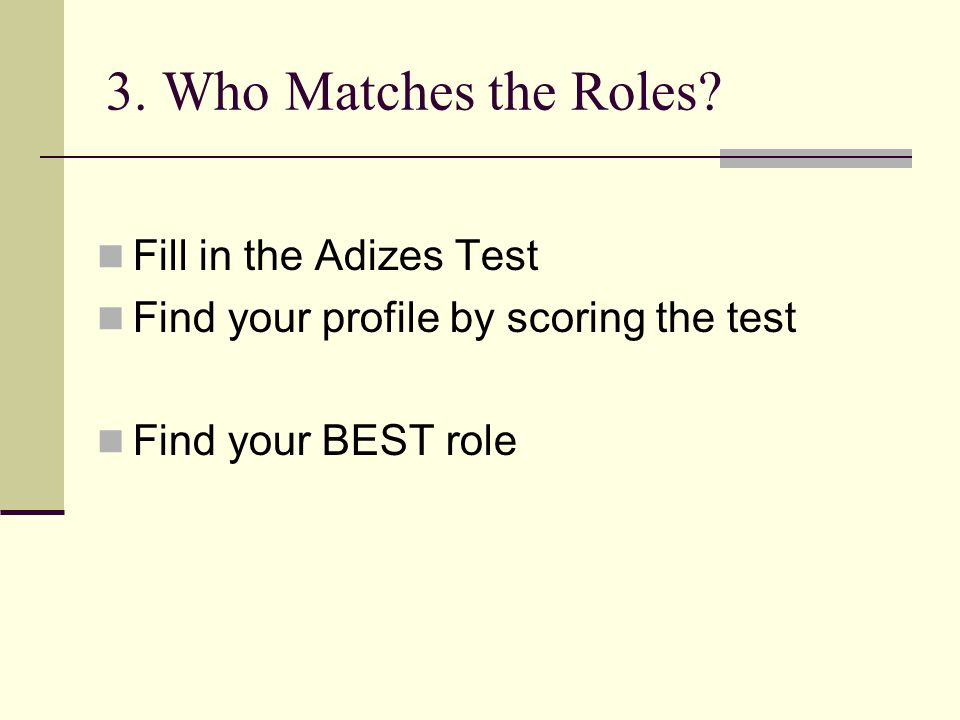 3. Who Matches the Roles? Fill in the Adizes Test Find your profile by scoring the test Find your BEST role