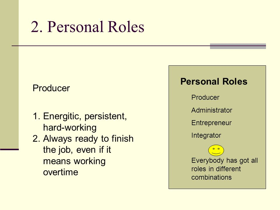 2. Personal Roles Producer Administrator Entrepreneur Integrator Everybody has got all roles in different combinations Personal Roles Producer 1.Energ