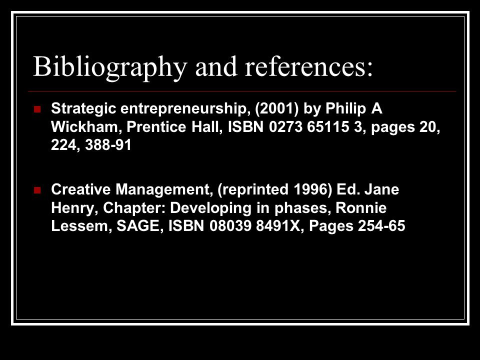 Bibliography and references: Strategic entrepreneurship, (2001) by Philip A Wickham, Prentice Hall, ISBN 0273 65115 3, pages 20, 224, 388-91 Creative Management, (reprinted 1996) Ed.