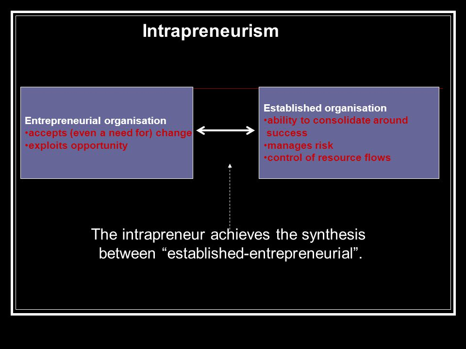 Entrepreneurial organisation accepts (even a need for) change exploits opportunity Established organisation ability to consolidate around success manages risk control of resource flows Intrapreneurism The intrapreneur achieves the synthesis between established-entrepreneurial .
