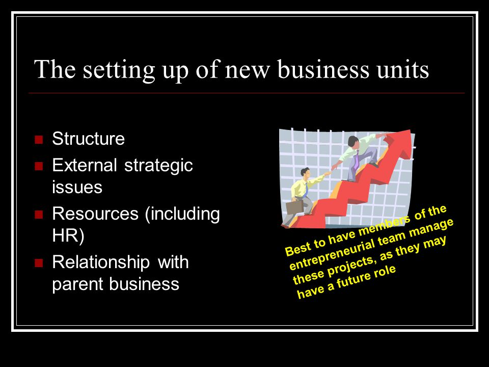 The setting up of new business units Structure External strategic issues Resources (including HR) Relationship with parent business Best to have members of the entrepreneurial team manage these projects, as they may have a future role