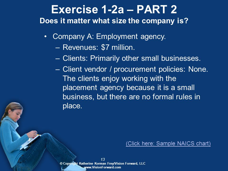 13 © Copyright Katherine Korman Frey/Vision Forward, LLC www.VisionForward.com Exercise 1-2a – PART 2 Does it matter what size the company is.