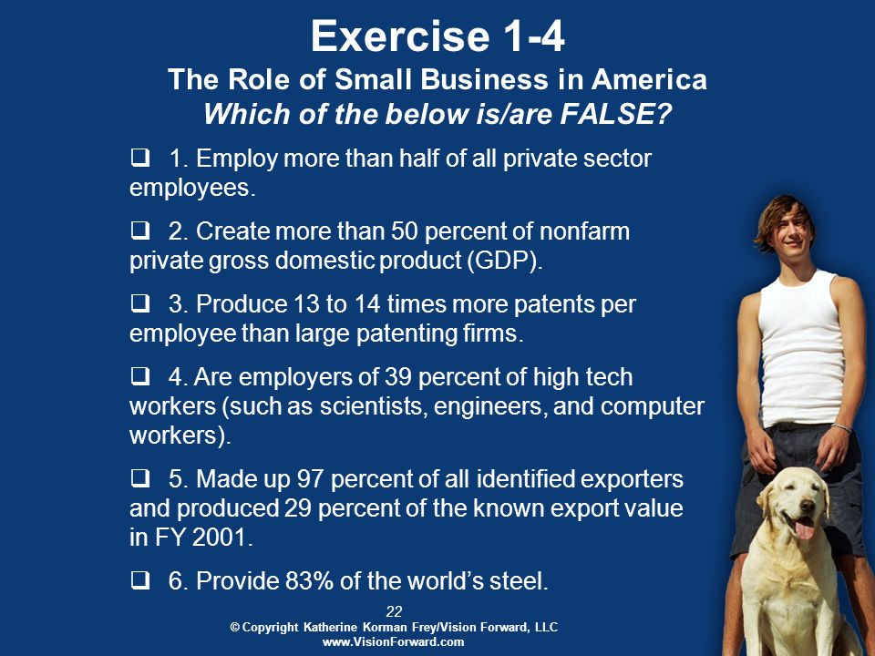 22 © Copyright Katherine Korman Frey/Vision Forward, LLC www.VisionForward.com Exercise 1-4 The Role of Small Business in America Which of the below is/are FALSE.