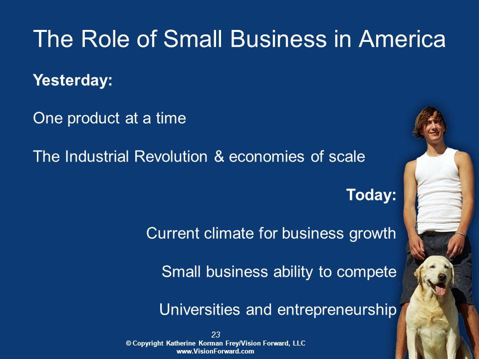 23 © Copyright Katherine Korman Frey/Vision Forward, LLC www.VisionForward.com The Role of Small Business in America Yesterday: One product at a time The Industrial Revolution & economies of scale Today: Current climate for business growth Small business ability to compete Universities and entrepreneurship
