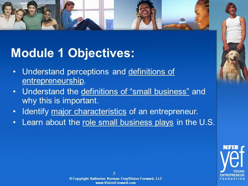 3 © Copyright Katherine Korman Frey/Vision Forward, LLC www.VisionForward.com Module 1 Objectives: Understand perceptions and definitions of entrepreneurship.