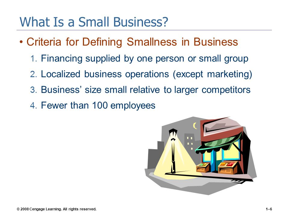 © 2008 Cengage Learning. All rights reserved.1–6 What Is a Small Business.