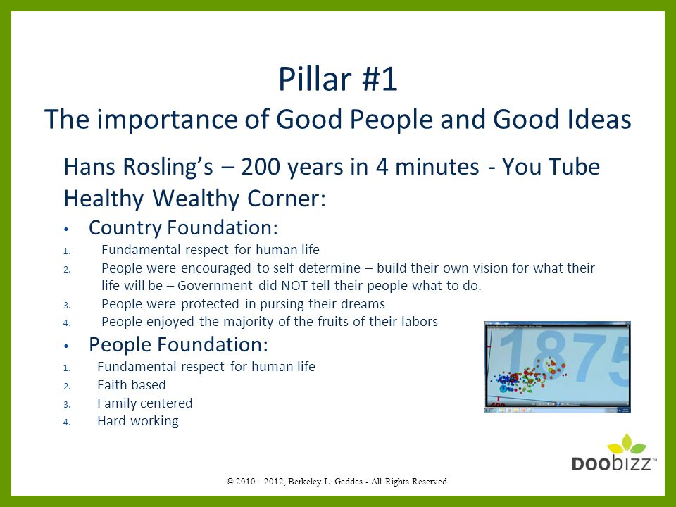 Pillar #1 The importance of Good People and Good Ideas Hans Rosling's – 200 years in 4 minutes - You Tube Healthy Wealthy Corner: Country Foundation: 1.