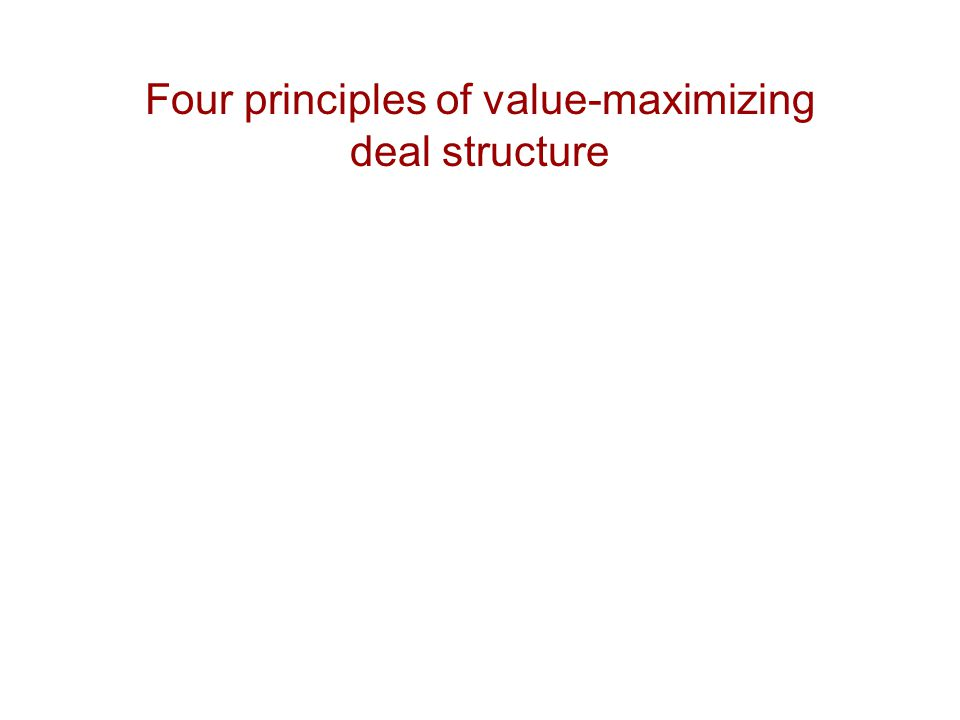 Four principles of value-maximizing deal structure