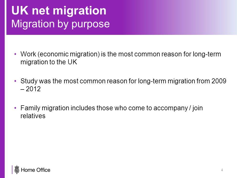 UK net migration Economic migration 5 Tier 1 (high value migrants): entrepreneurs, investors, those recognised as having exceptional talent or promise.
