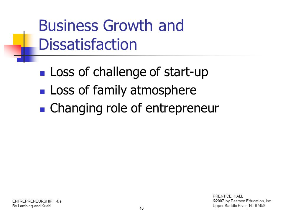 10 ENTREPRENEURSHIP, 4/e By Lambing and Kuehl PRENTICE HALL ©2007 by Pearson Education, Inc. Upper Saddle River, NJ 07458 Business Growth and Dissatis
