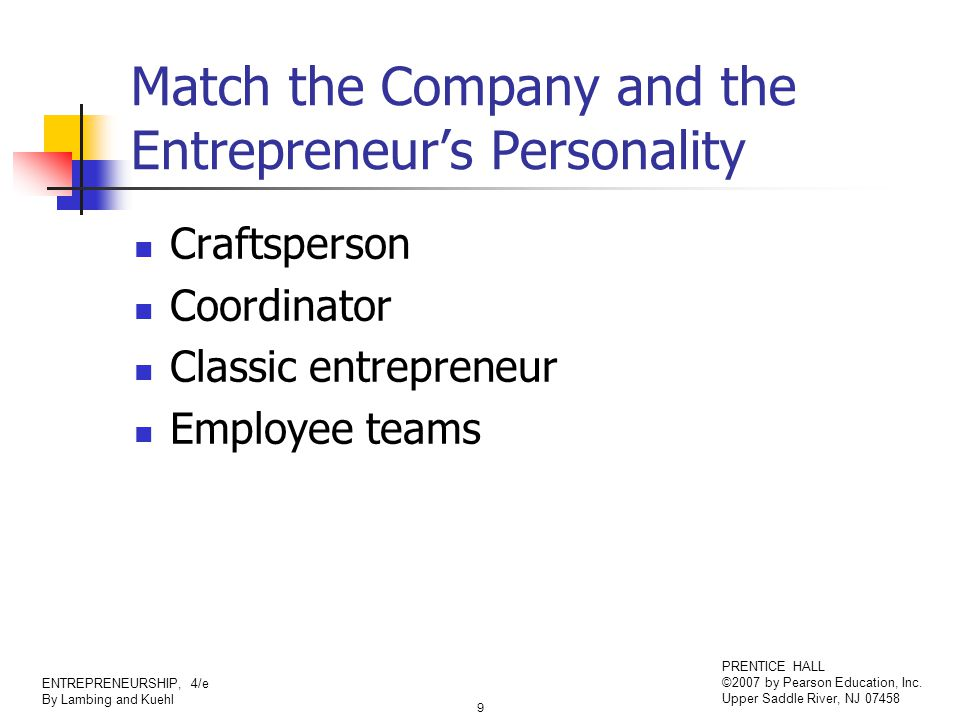 9 ENTREPRENEURSHIP, 4/e By Lambing and Kuehl PRENTICE HALL ©2007 by Pearson Education, Inc. Upper Saddle River, NJ 07458 Match the Company and the Ent