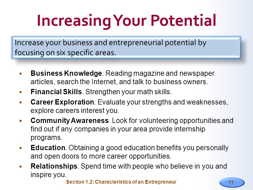 11 Increasing Your Potential Business Knowledge.