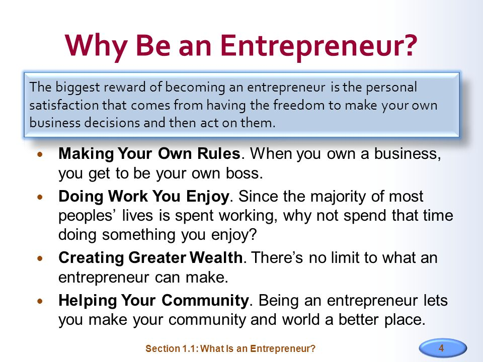 4 Why Be an Entrepreneur.Making Your Own Rules.