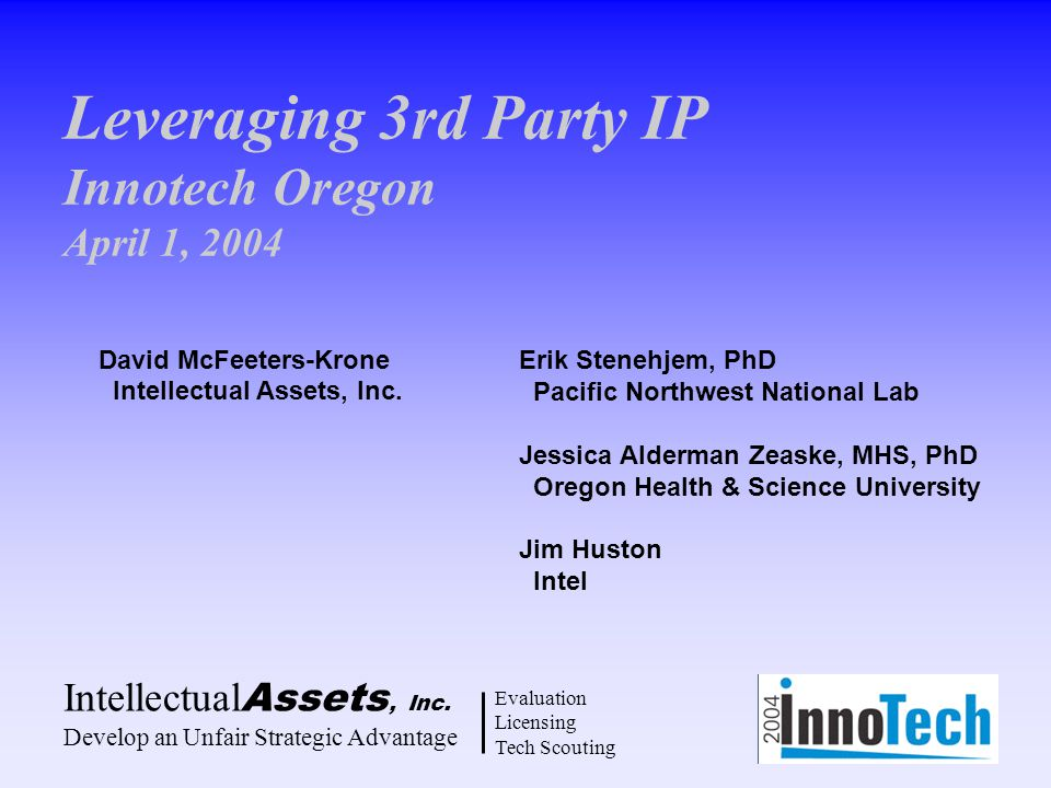 Leveraging 3rd Party IP Innotech Oregon April 1, 2004 Intellectual Assets, Inc.