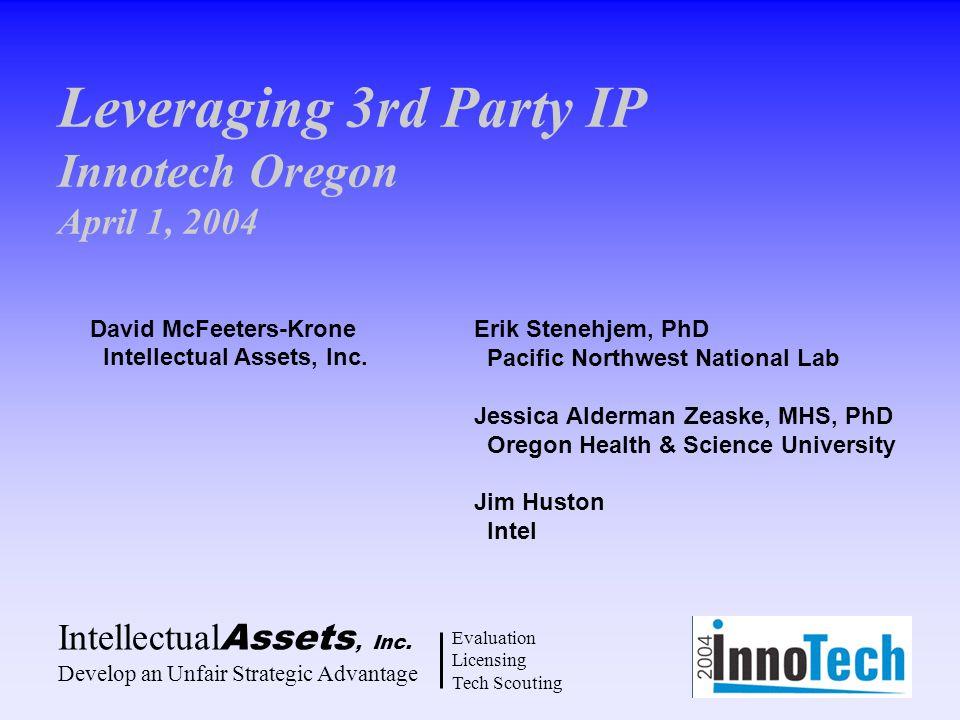 Leveraging 3rd Party IP Innotech Oregon April 1, 2004 Intellectual Assets, Inc. Develop an Unfair Strategic Advantage Evaluation Licensing Tech Scouti