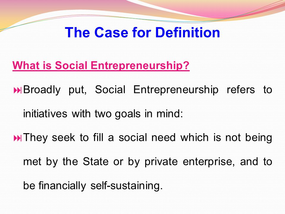 The Case for Definition What is Social Entrepreneurship.